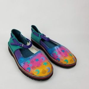 SoleTech Moon & Stars Leather Hand Painted Flats